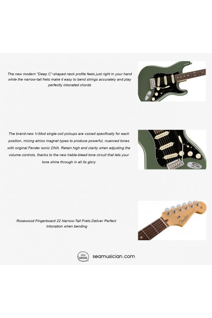 FENDER AMERICAN PERFORMER PROFESSIONAL STRATOCASTER ELECTRIC GUITAR WITH ROSEWOOD FINGERBOARD 0113010776 , ANTIQUE OLIVE (SEAMUSICIAN)