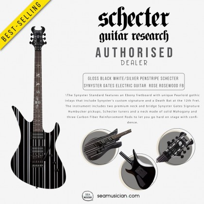 SCHECTER GLOSS BLACK WHITE/SILVER PENSTRIPE SYNYSTER GATES ELECTRIC GUITAR  ROSE ROSEWOOD FINGERBOARD