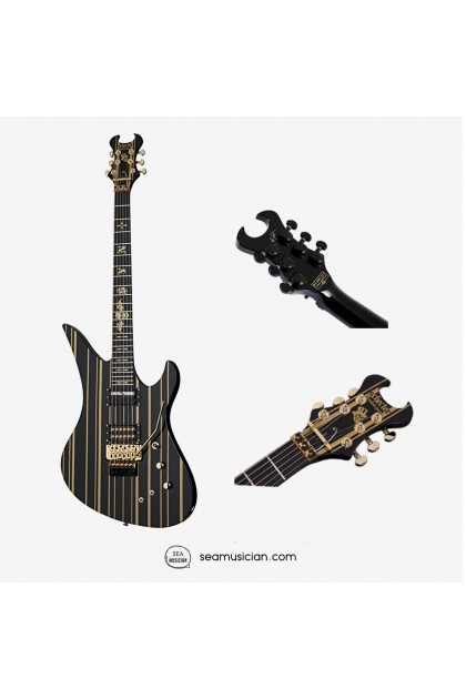 SCHECTER BLACK/GOLD PENSTRIPE SYNYSTER CUSTOM-S GATES ELECTRIC GUITAR ROSE ROSEWOOD FINGERBOARD