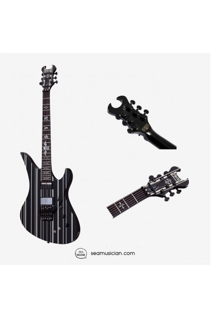 SCHECTER BLACK/SILVER PENSTRIPE SYNYSTER CUSTOM-S GATES ELECTRIC GUITAR ROSE ROSEWOOD FINGERBOARD