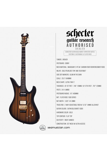 SCHECTER SATIN GOLD BURST SYNYSTER GATES CUSTOM-S SUSTAINIAC & FLOYD ROSE