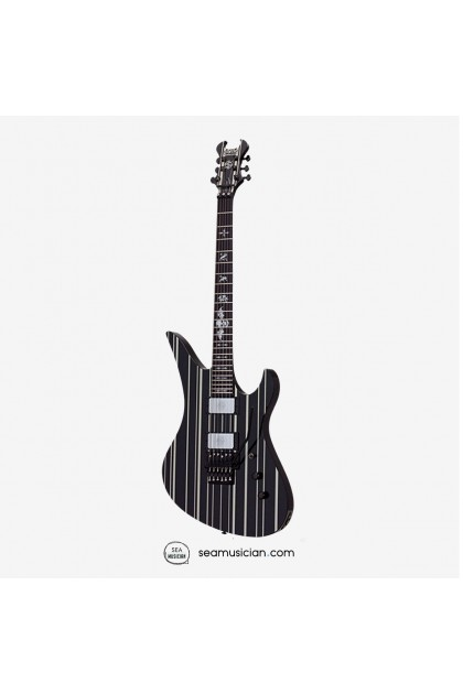 SCHECTER BLACK WHITE/SILVERPINSTRIPE SYNYSTER CUSTOM-GLOSS SUSTAINIAC & FLOYD ROSE