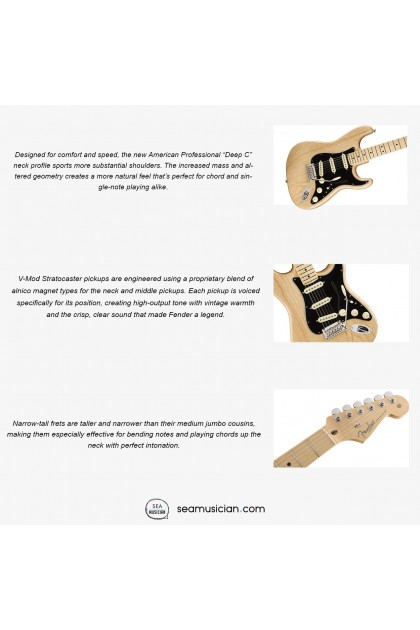 FENDER AMERICAN PROFESSIONAL STRATOCASTER ELECTRIC GUITAR, MAPLE FINGERBOARD 011-3012-721, NATURAL