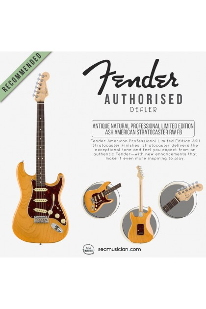 FENDER LTD ED AMERICAN PROFESSIONAL ASH STRATOCASTER ELECTRIC GUITAR, ROSEWOOD FINGERBOARD 0179303734, ANTIQUE NATURAL