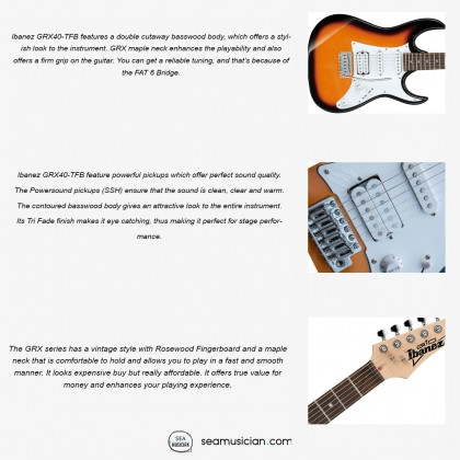 IBANEZ GIO SERIES GRX40 ELECTRIC GUITAR, ROSEWOOD FINGERBOARD WITH WHITE DOT INLAY, TRI FADE BURST
