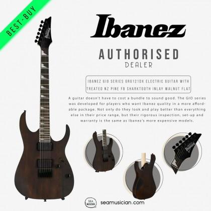 IBANEZ GIO SERIES GRG121DX ELECTRIC GUITAR WITH TREATED NEW ZEALAND PINE FINGERBOARD SHARKTOOTH INLAY, WALNUT FLAT (WNF)