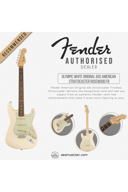 FENDER AMERICAN ORIGINAL 60S STRATOCASTER ELECTRIC GUITAR, ROSEWOOD FINGERBOARD 0110120805, OLYMPIC WHITE