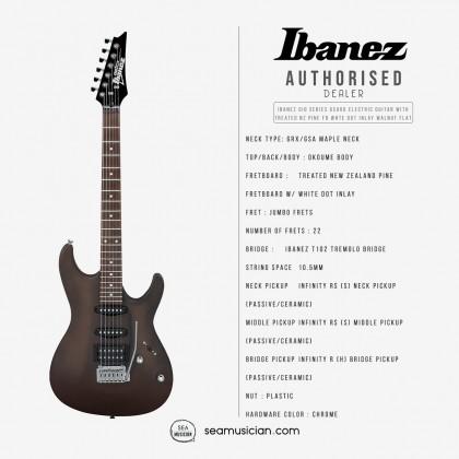 IBANEZ GIO SERIES GSA60 ELECTRIC GUITAR WITH TREATED NEW ZEALAND PINE FINGERBOARD WHITE DOT INLAY, WALNUT FLAT (WNF)