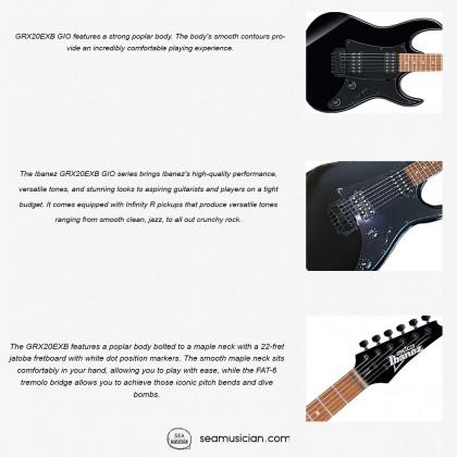 IBANEZ GIO SERIES GRX20EXB BKN ELECTRIC GUITAR JATOBA FINGERBOARD WHITE DOT INLAY BLACK NIGHT