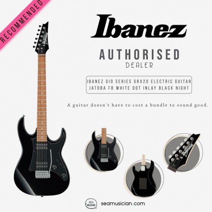 IBANEZ GIO SERIES GRX20 BKN ELECTRIC GUITAR JATOBA FINGERBOARD WHITE DOT INLAY BLACK NIGHT