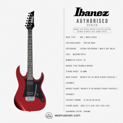 IBANEZ GIO SERIES GRX20 CA ELECTRIC GUITAR JATOBA FINGERBOARD WHITE DOT INLAY CANDY APPLE