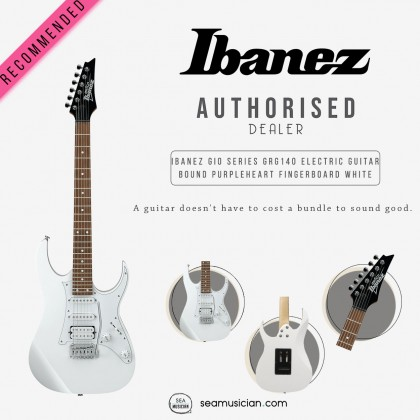 IBANEZ GIO SERIES GRG140 WH ELECTRIC GUITAR BOUND PURPLEHEART FINGERBOARD / WHITE DOT INLAY WHITE