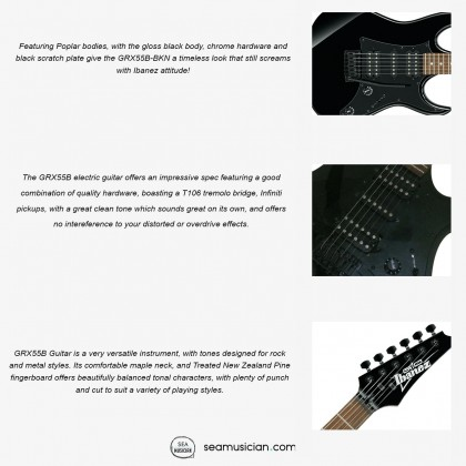 IBANEZ GIO SERIES GRX55B BKN ELECTRIC GUITAR WITH TREATED NEW ZEALAND PINE FINGERBOARD WHITE DOT INLAY BLACK NIGHT