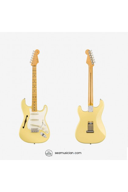 FENDER ERIC JOHNSON THINLINE STRATOCASTER ELECTRIC GUITAR, MAPLE FINGERBOARD 0113602741, VINTAGE WHITE