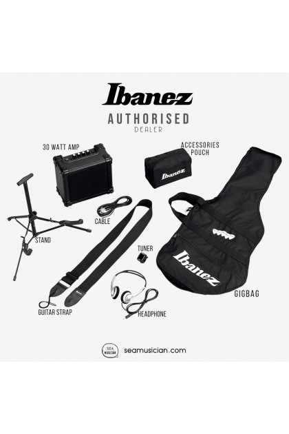 IBANEZ ELECTRIC BASS GUITAR JUMP START PACKAGE, BLACK (IJSR190E-BK)