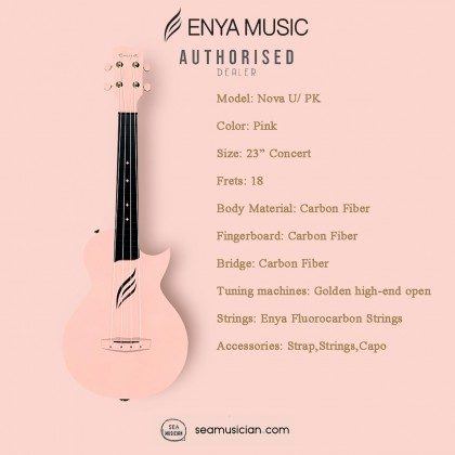 ENYA 23IN NOVA U SERIES CONCERT UKULELE PINK WITH (BAG/CAPO/STRAP/STRING)