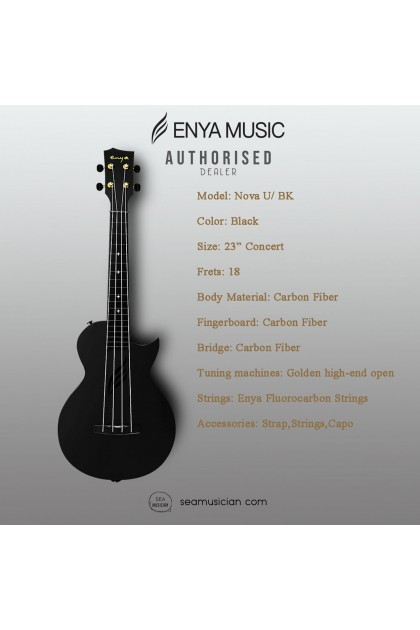 ENYA 23IN NOVA U SERIES CONCERT  UKULELE BLACK WITH  (BAG/CAPO/STRAP/STRING)