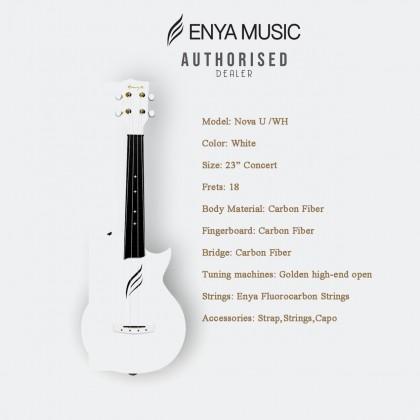 ENYA 23IN NOVA U SERIES CONCERT  UKULELE WHITE  WITH  (BAG/CAPO/STRAP/STRING)