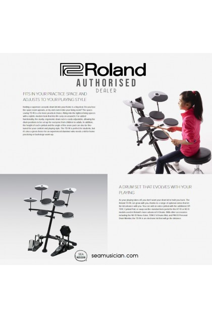 ROLAND TD-1K V-DRUMS PORTABLE ELECTRONIC DRUM SET COMES WITH DRUMTHRONE AND DRUMSTICK
