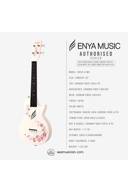 ENYA 23INCH NOVA U SERIES CONCERT UKULELE COLOR WHITE W/FLOWER (BAG/CAPO/STRAP/STRING)