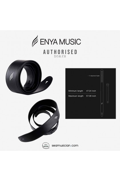 ENYA EPS GB LEATHER GUITAR STRAP LENGTH 120CM-145CM COLOR GLOSS BLACK