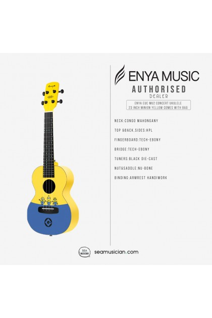 ENYA EUC MU2 CONCERT UKULELE 23 INCH MINION YELLOW COMES WITH BAG
