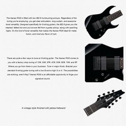 IBANEZ RG8 8-STRING JATOBA FRETBOARD ELECTRIC GUITAR COLOR BLACK