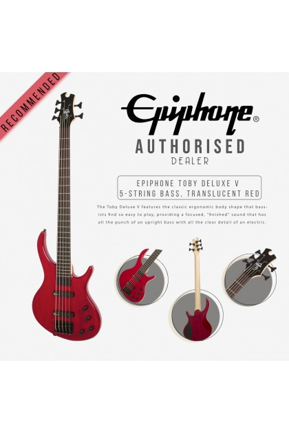 EPIPHONE TOBY DELUXE V 5 STRING BASS GUITAR COLOR TRANSLUCENT RED EBD5TRBH1