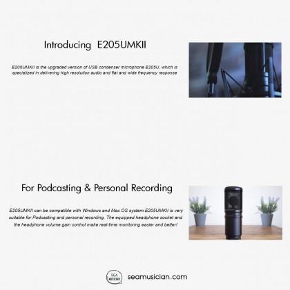 SUPERLUX E205U MKII  USB STUDIO CONDENSER MICROPHONE COLOR BLACK