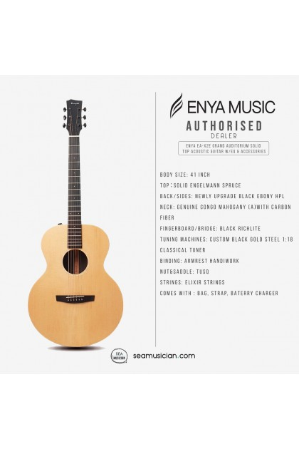 ENYA EA-X2E GRAND AUDITORIUM SOLID TOP ACOUSTIC GUITAR EQ (W/PADDED GREY BAG,STRAP & BATTERY CHARGE)