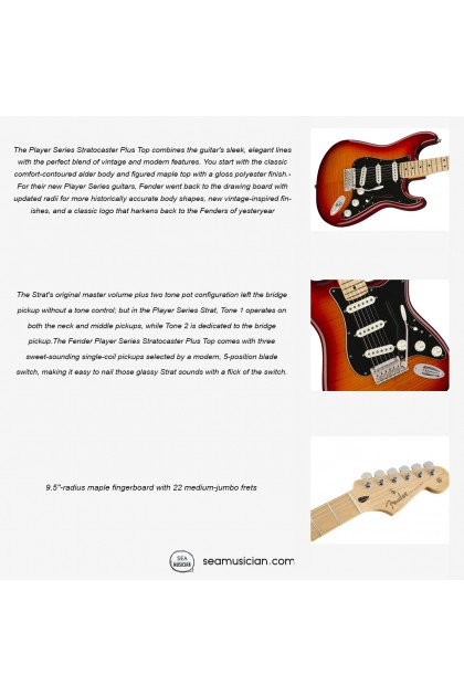 FENDER PLAYER SERIES PLUSTOP STRATOCASTER ELECTRIC GUITAR MAPLE FRETBOARD COLOR AGED CHERRY BURST 0144552531