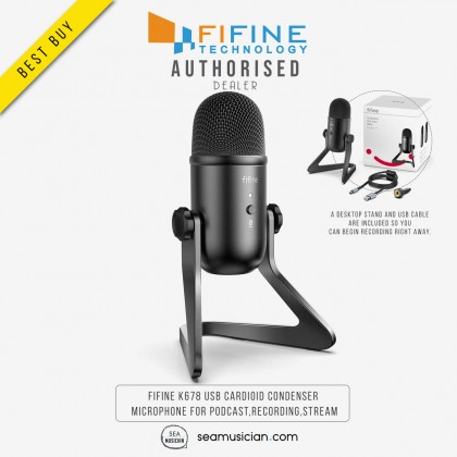 FIFINE K678 WITH LOW-LATENCY MONITOR JACK USB CARDIOID CONDENSER MICROPHONE FOR PODCAST/RECORDING/STREAM/GAMING