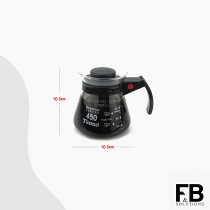 TIAMO GLASS COFFEE SERVER 450CC/450ML (BLACK) HG2314