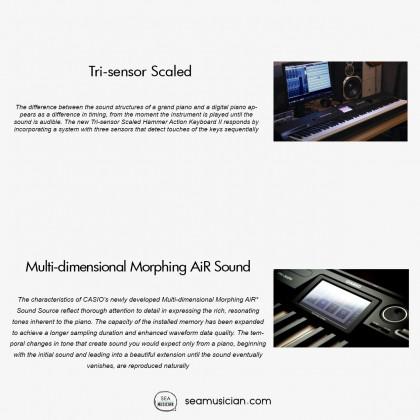"CASIO PRIVIA 88 KEYS DIGITAL PIANO W/TOUCHSCREEN (5.3"" LCD) PX360 MBK W/CS-67PBK,SP-33 & WITH BENCH"