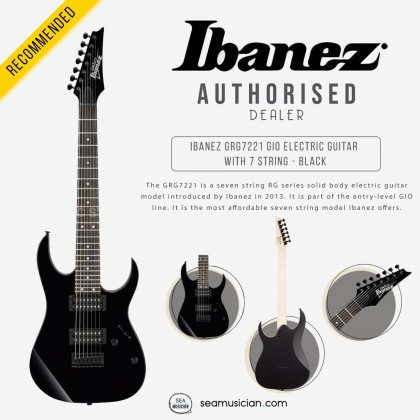 IBANEZ GRG7221 GIO ELECTRIC GUITAR WITH 7 STRING - BLACK