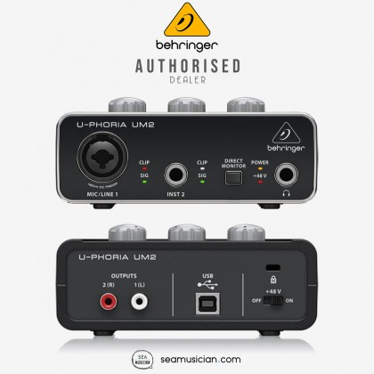 BEHRINGER U-PHORIA UM2 USB AUDIO INTERFACE WITH XENYX MIC PREAMPS