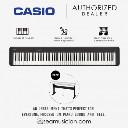 CASIO CDP-S100 88-KEY DIGITAL PIANO BLACK WITH STAND (CDP-S100 BK)