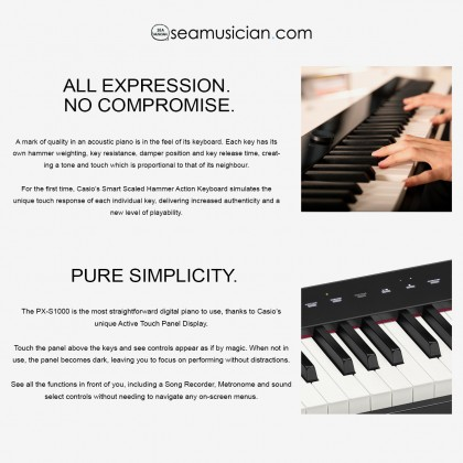 CASIO PX-S1000 BK PRIVIA DIGITAL PIANO BLACK WITH X STAND AND CASIO THUMBDRIVE