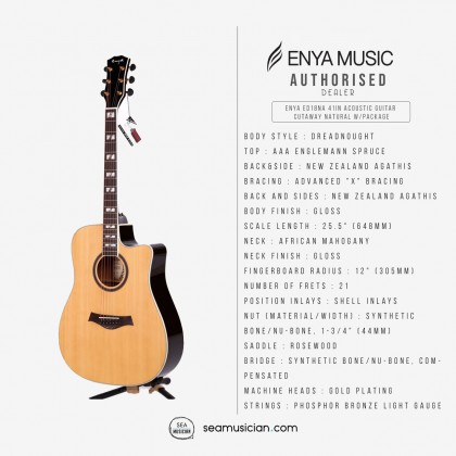 ENYA ED18NA 41IN ACOUSTIC GUITAR CUTAWAY NATURAL WITH BAG & ACCESSORIES