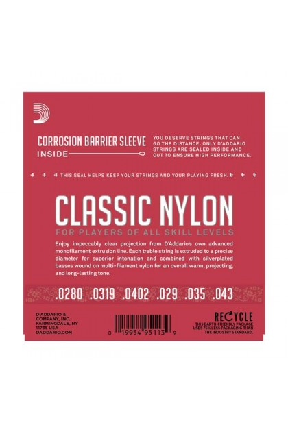 D'ADDARIO EJ27N STUDENT NYLON CLASSICAL GUITAR STRINGS NORMAL TENSION