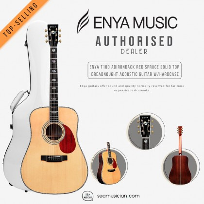 ENYA T10-D ADIRONDACK RED SPRUCE SOLID TOP DREADNOUGHT ACOUSTIC GUITAR W/HARDCASE ABALONE INLAY