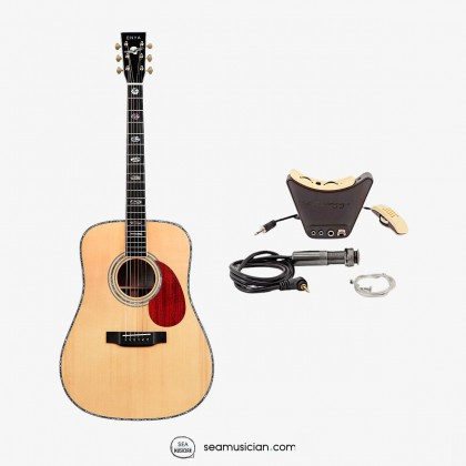 ENYA T10-DE ADIRONDACK RED SPRUCE SOLID TOP DREADNOUGHT ACOUSTIC GUITAR W/HARDCASE ABALONE INLAY & LR BAGGS PICKUP