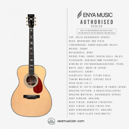 ENYA T10-OM ADIRONDACK RED SPRUCE SOLID TOP OM ACOUSTIC GUITAR W/HARDCASE ABALONE INLAY