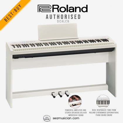 ROLAND FP30 DIGITAL PIANO WITH STAND AND TRIPLE PEDAL COLOR WHITE