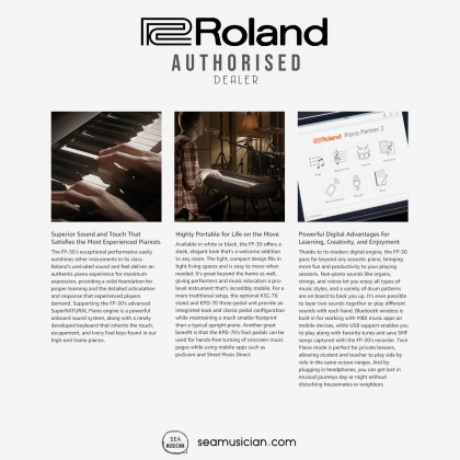 ROLAND FP 30 88-KEY DIGITAL PIANO WITH SUSTAIN PEDAL COLOR WHITE