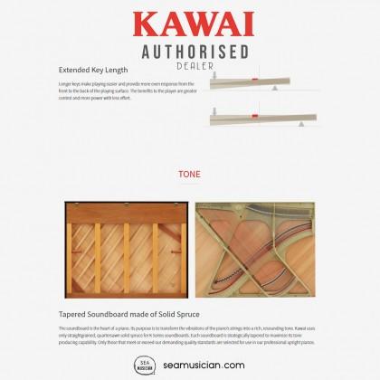 KAWAI K-200 UPRIGHT PIANO EBONY POLISH WITH BENCH (MII)