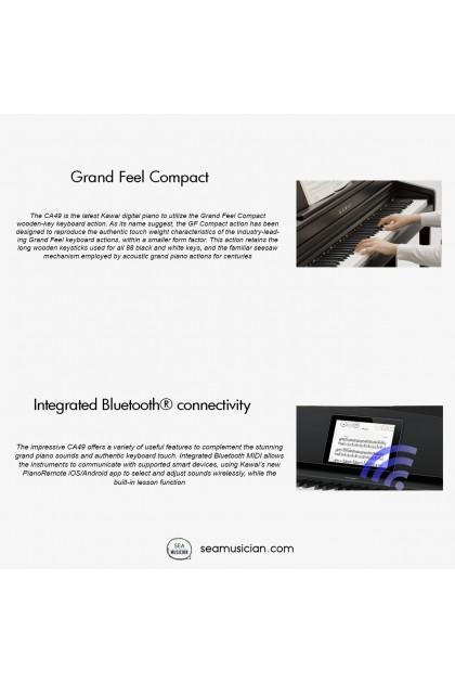"KAWAI CA SERIES CA49 ""GRAND FEEL COMPACT"" WOODEN-KEY DIGITAL PIANO 88 KEYS W/BENCH,HEADPHONE & STAND"