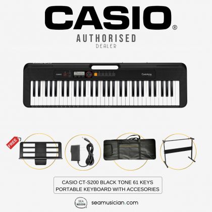 CASIO CT-S200 BLACK TONE 61 KEYS PORTABLE KEYBOARD WITH STAND, NOTE STAND, KEYBOARD BAG & AC ADAPTOR