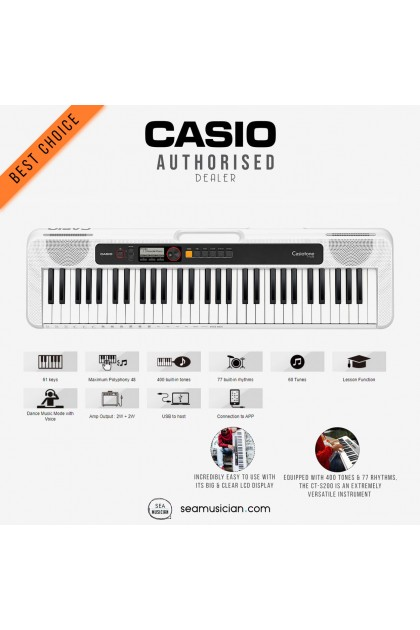 CASIO CT-S200 WHITE TONE 61 KEYS PORTABLE KEYBOARD