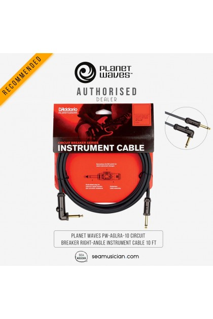 PLANET WAVES PW-AGLRA-10 CIRCUIT BREAKER LATCHING RIGHT-ANGLE INSTRUMENT CABLE 10 FT